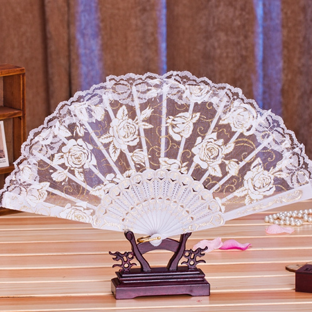 1 Pc Fashion Style Multi-color Chinese Dance Party Wedding Lace Embroidery Flower Folding Hand Held Fan