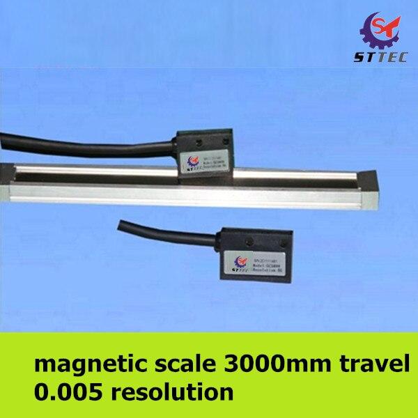O envio gratuito de alta precisão 0.005mm 3 metro 3000mm escala linear magnético/régua/sensor/codificador