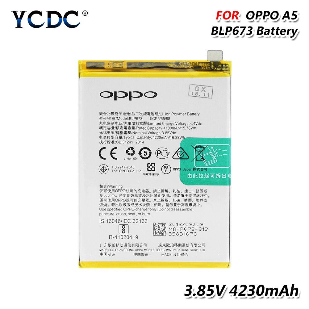 Купить Литиевая BLP673 Батарея для OPPO A5 смартфон 3,85 V 4230 mAh высокой Ёмкость Li Po Li-полимерный заряжаемая телефонная батарея на Алиэкспресс