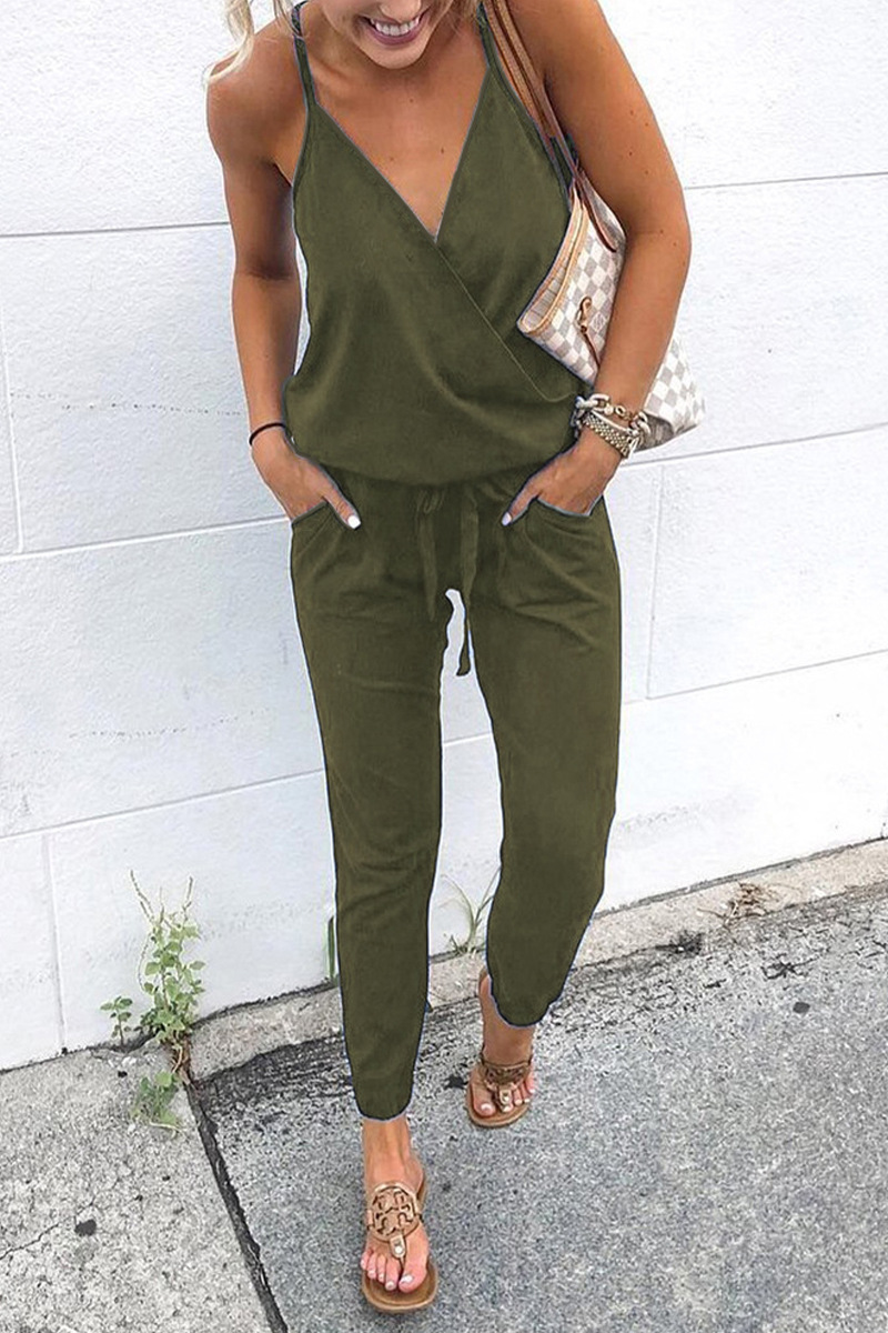 Women Strappy Backelsss   Jumpsuit   Long Pants Summer Beach Party Playsuit KNG88