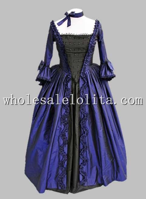 18 век тематический костюм Королевского синего и черного времен Марии Антуанетты платье, сценический костюм - Цвет: royal blue