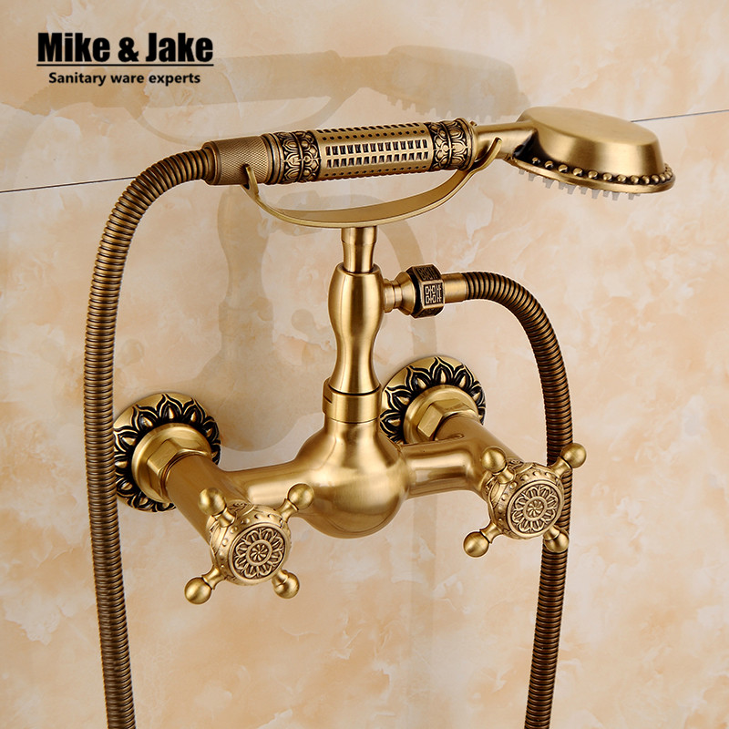 Free shipping Bathroom Bath shower mixer Wall Mounted Carving Hand Held Antique Brass Shower Head Kit Shower Faucet Sets gappo classic chrome bathroom shower faucet bath faucet mixer tap with hand shower head set wall mounted g3260