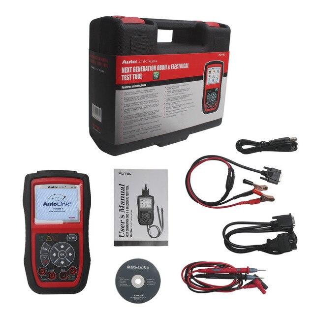 Оригинальные Автомобильные Autel Автоссылка AL539B OBD2 Код Читателя Электрические Инструмент Тестирования С АВО Метр OBD 2 Автомобиля Диагностический Инструмент Сканирования