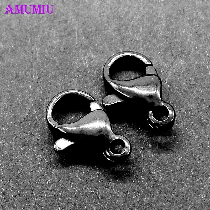 AMUMIU 12x7 мм черный 100 шт цветной крючок для украшений Лобстер попугай Лобстер застежки пряжки A004D