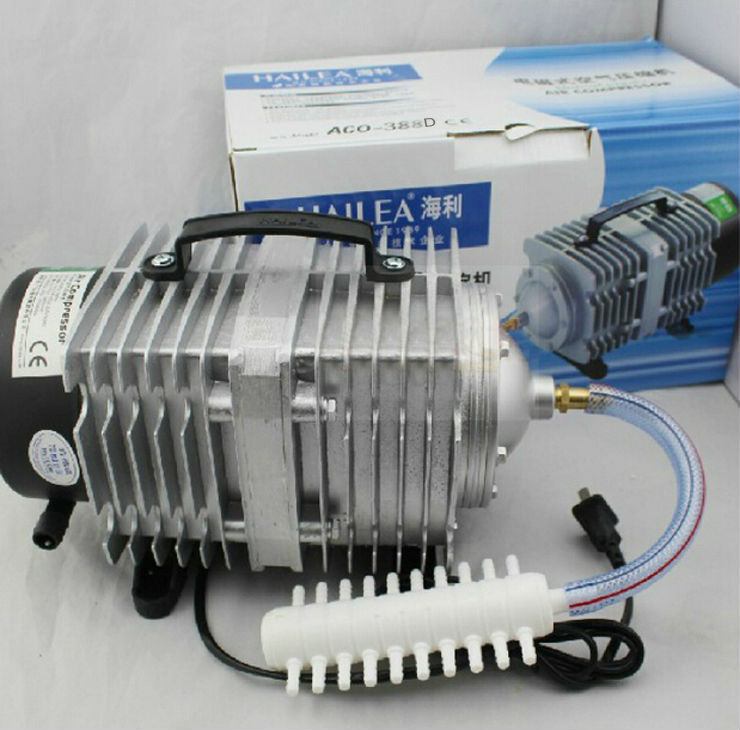 ACO-388D Electromagnetic Aquarium Air Compressor Pump 90L/min 220V 85W 0.035 Mpa new resun aco 008 high quality 120w 0 110m3 min aquarium fish tank pond electromagnetic air compressor pump new