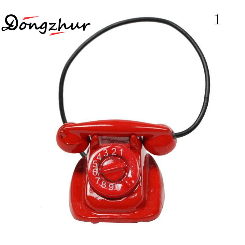Dutiful Dongzhur Dollhouse Miniatures 1:12 Accessories Doll House Phone Model Red And Black Color Selection Mini Retro Small Phone Toy Dolls & Stuffed Toys