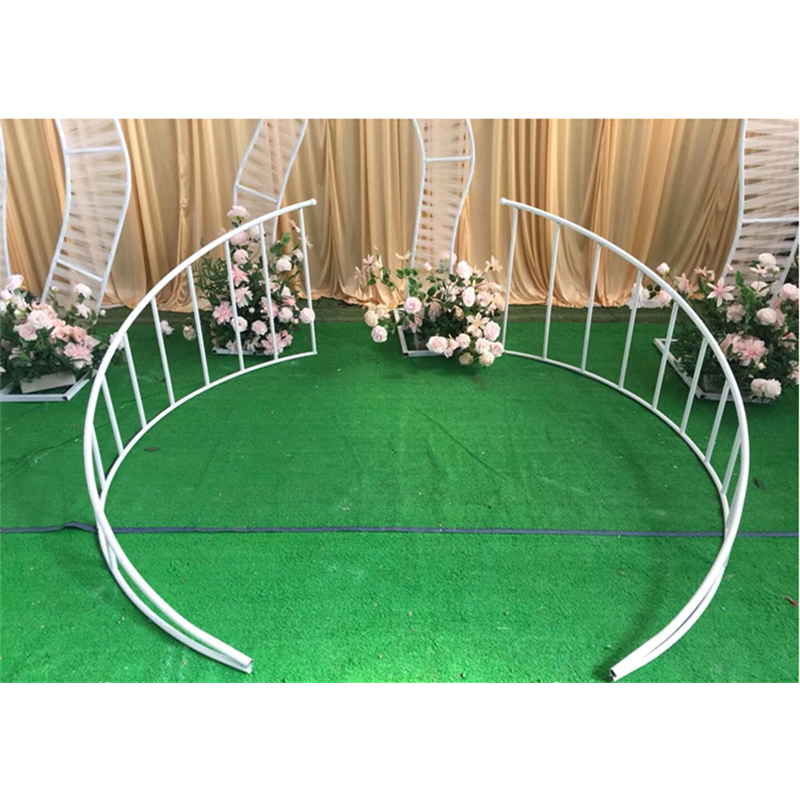 Wedding home Party Road lead Stage Center Position metal Wrought Iron Curved Fence flowers backdrop stand Decoration props