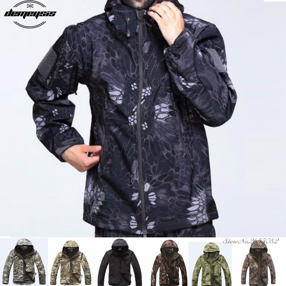 High quality Waterproof Windproof Army Clothing Shark skin Soft Shell Military Tactical camouflage Jacket set hunting jackets waterproof camouflage hoodie men s army military outdoor soft shell tactical jacket military camo army clothing