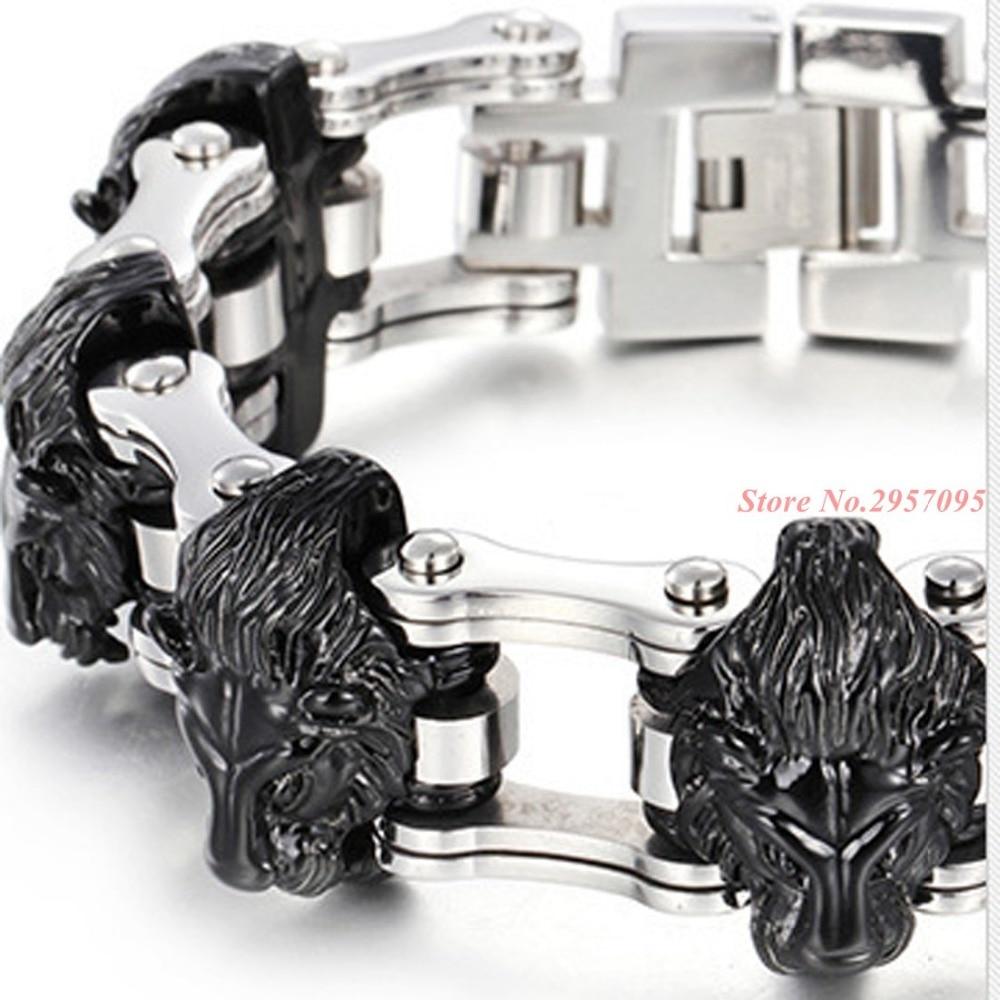 Argent or noir Lion tête conception vélo lien chaînes Bracelet motard hommes 316L acier inoxydable Bracelet bracelets homme Bracelet - 4