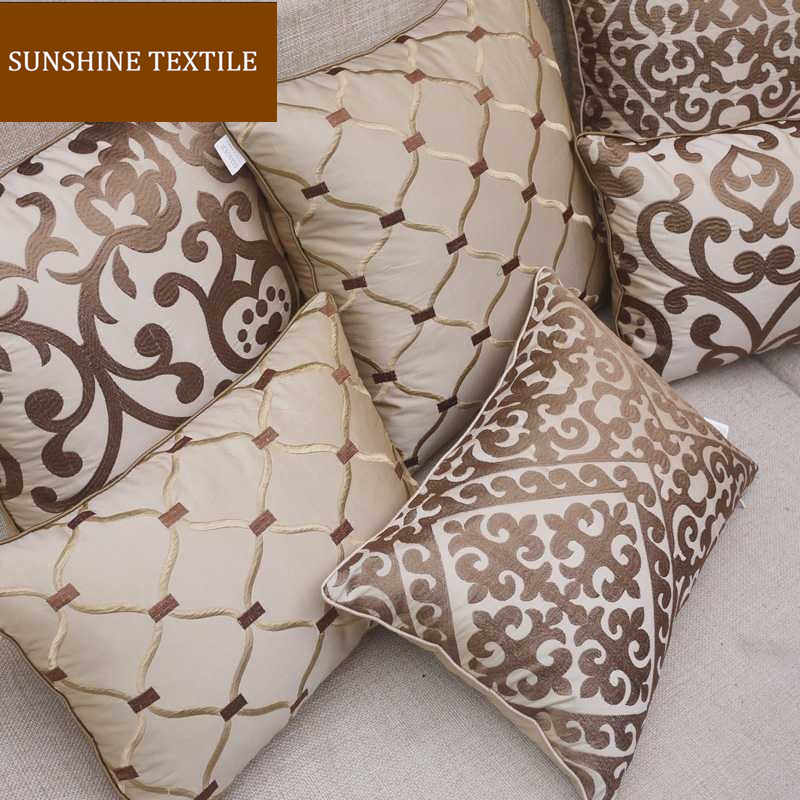 "Complex Embroidery  Home Decor Cushion Cover Silk Pillow Cover Decorative Throw Pillows Pillowcase Pillowsham  18""/20""/24"""