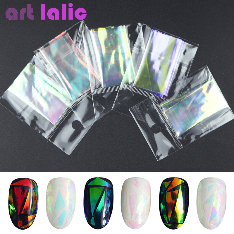 5 Sheets 3D Holographic Starry Sky Glitter Foil Finger Nail Art Sticker Rainbow Mirror Stencil Decal DIY Manicure Design Tools hot sale 20 sheets lot 20 4cm nail art transfer foil floral serial sexy black lace pattern nail sticker foil material diy wy188