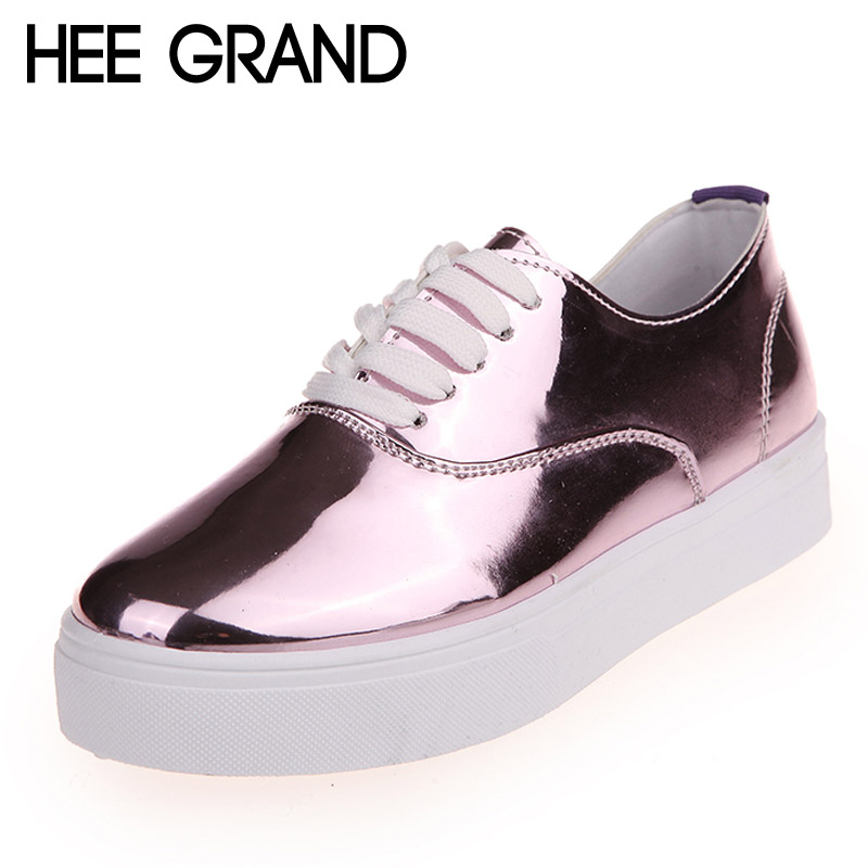 HEE GRAND 2017 Bling Loafers Patent PU Leather Platform Shoes Woman Casual Lace-Up Flats Silver Pink Women Shoes XWD5786 bling patent leather oxfords 2017 wedges gold silver platform shoes woman casual creepers pink high heels high quality hds59