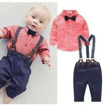 2016 Autumn Infant Baby Clothing Sets Cotton Long Sleeve Plaid Shirt+Bib Pants Overall Costume Kids Clothes Set