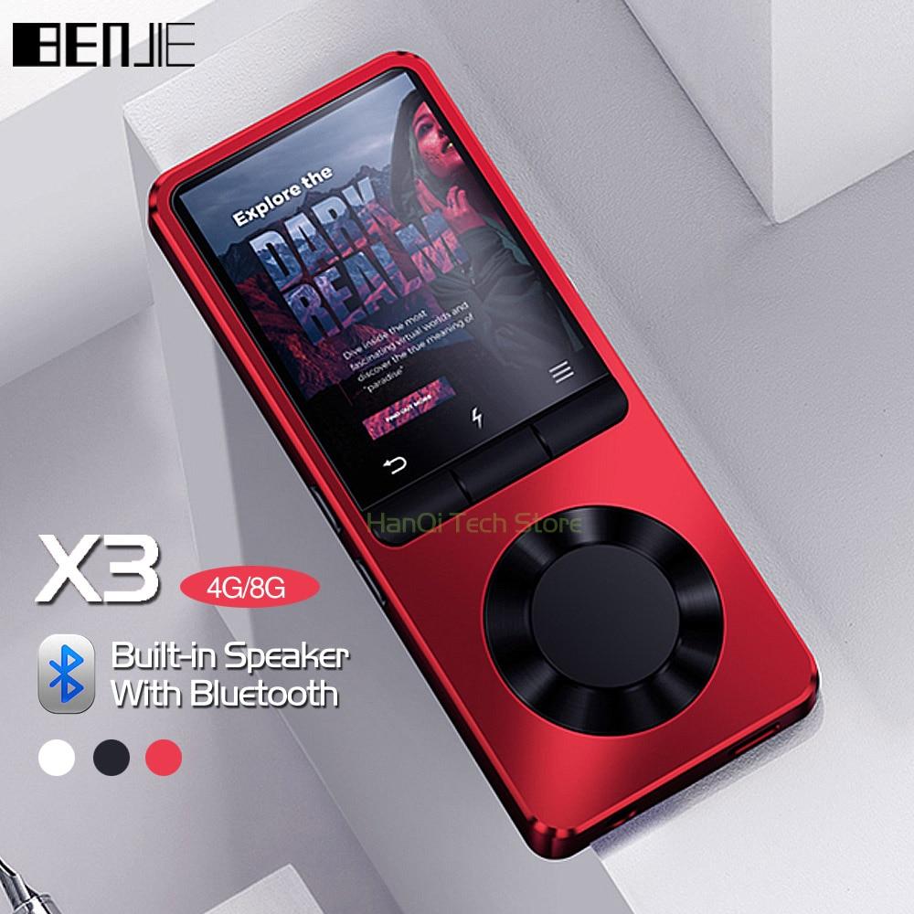 Benjie x3 metal bluetooth mp3 player de áudio portátil 4 gb 8 gb leitor de música com alto-falante embutido rádio fm, gravador, e-book, relógio