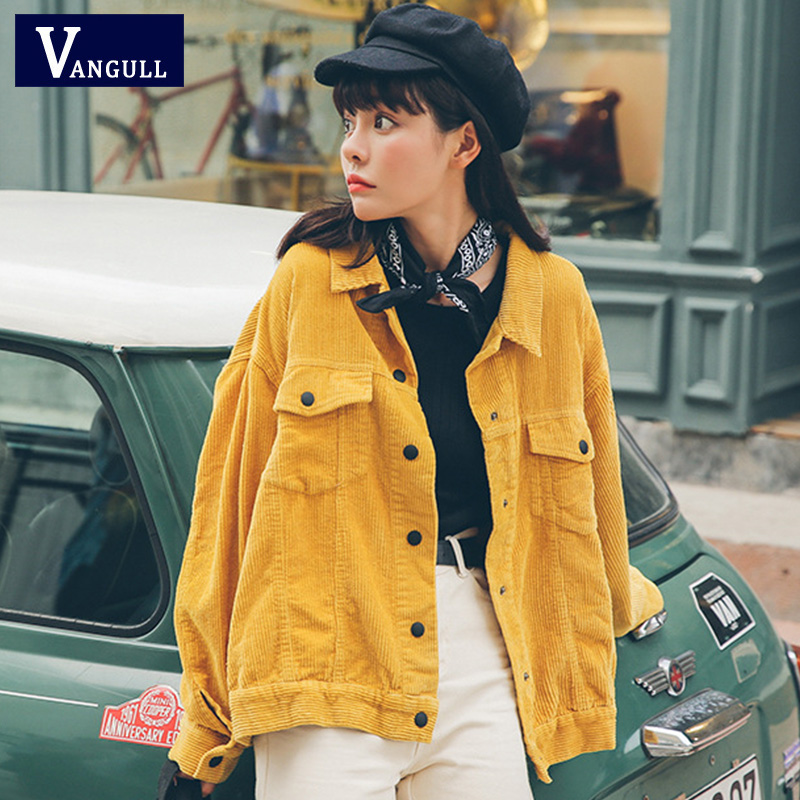 Vangull New 2019 Women Bomber Jacket With Pockets Cotton Corduroy Jacket Women Basic Coats Stylish Slim Fit Fashion Outerwear