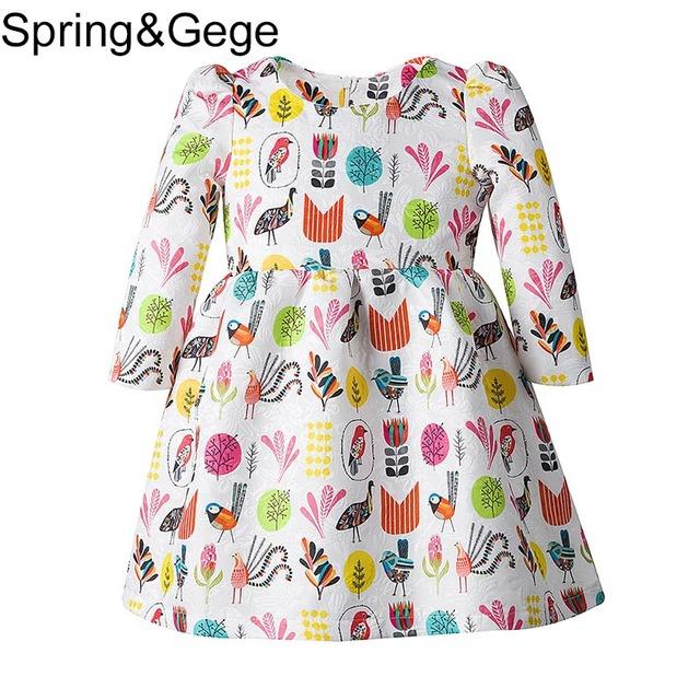 Las niñas se Visten 2017 Nuevo Primavera Niño Niñas Ropa De Disfraces para Niños de Manga Larga Vestido de la Princesa de Dibujos Animados de Impresión Vestidos de Fiesta