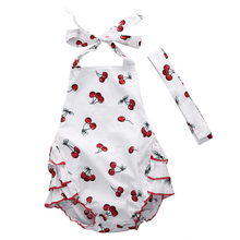 baby bodysuit 2016 wholesale newborn baby kids girl cherry printed bodysuit summer casual halter bodysuit
