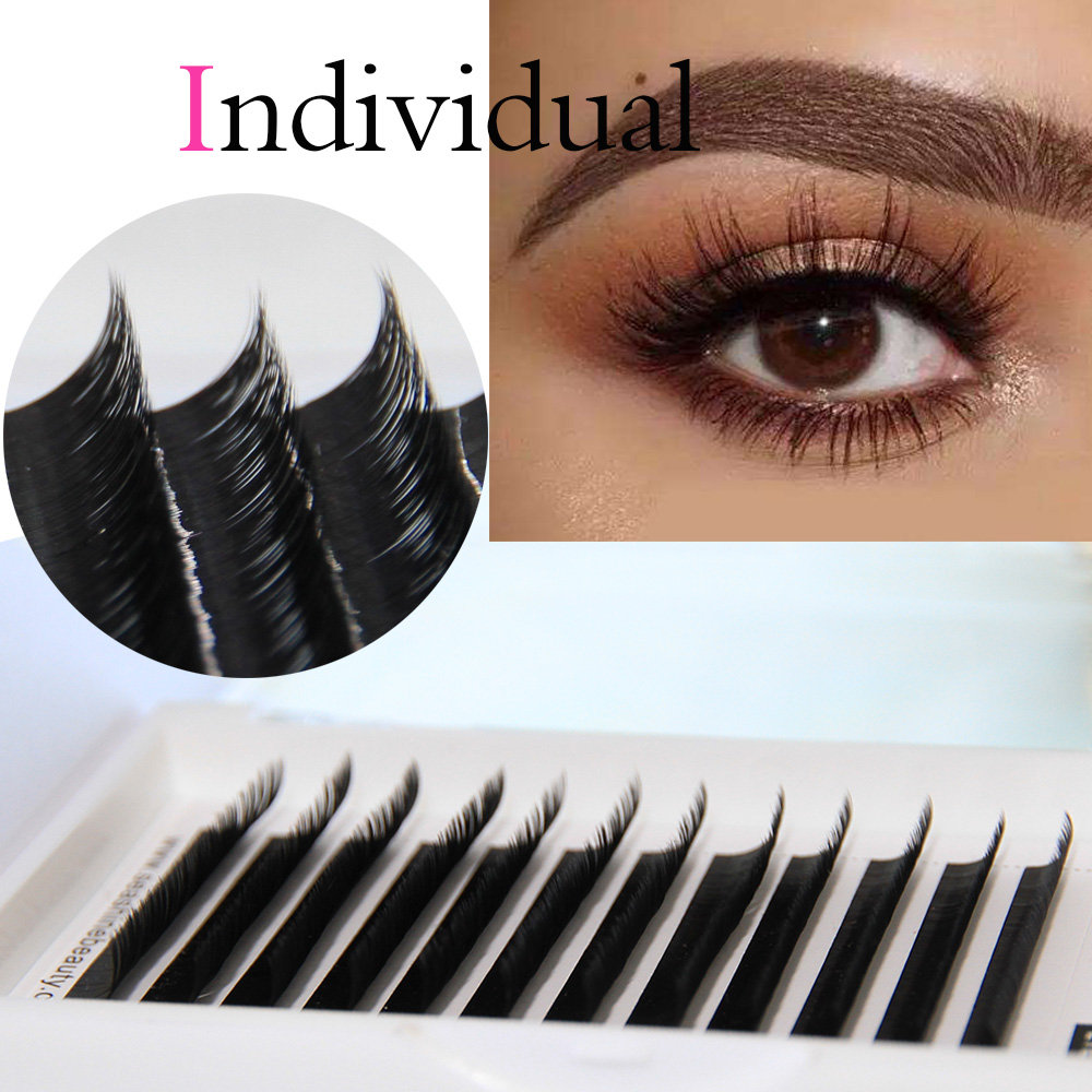 1 Tray/Set 12Rows C D L Individual Eyelash Extensions Silk Black Fake False Eyelashes Curl Fine Lashes Extension