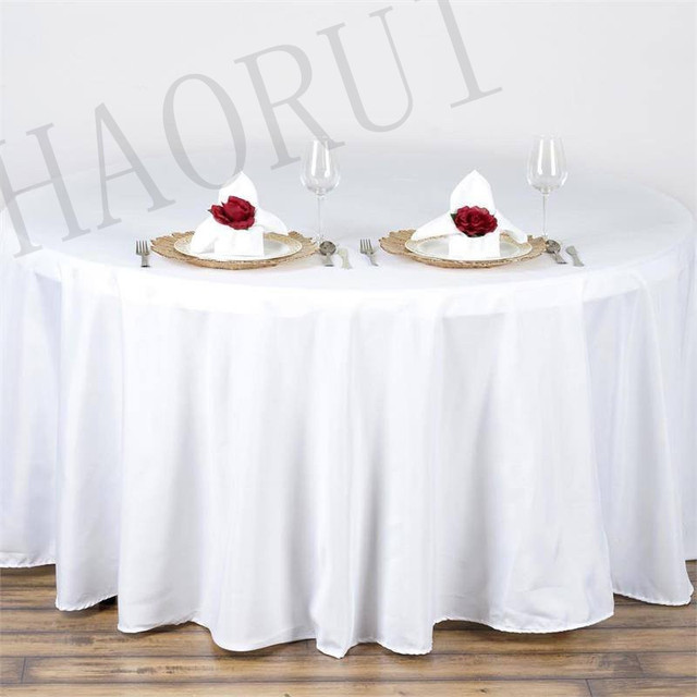 10pcs Customize Table Cover Polyester Cotton Fabric 120u0027u0027Round White Luxury  Dining Tablecloth Wedding