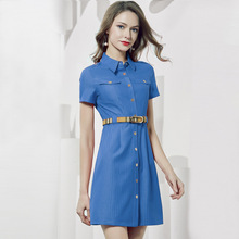 Europe and America 2019  women Summer Dress Short Sleeve Waist Button Design High-end Shirt
