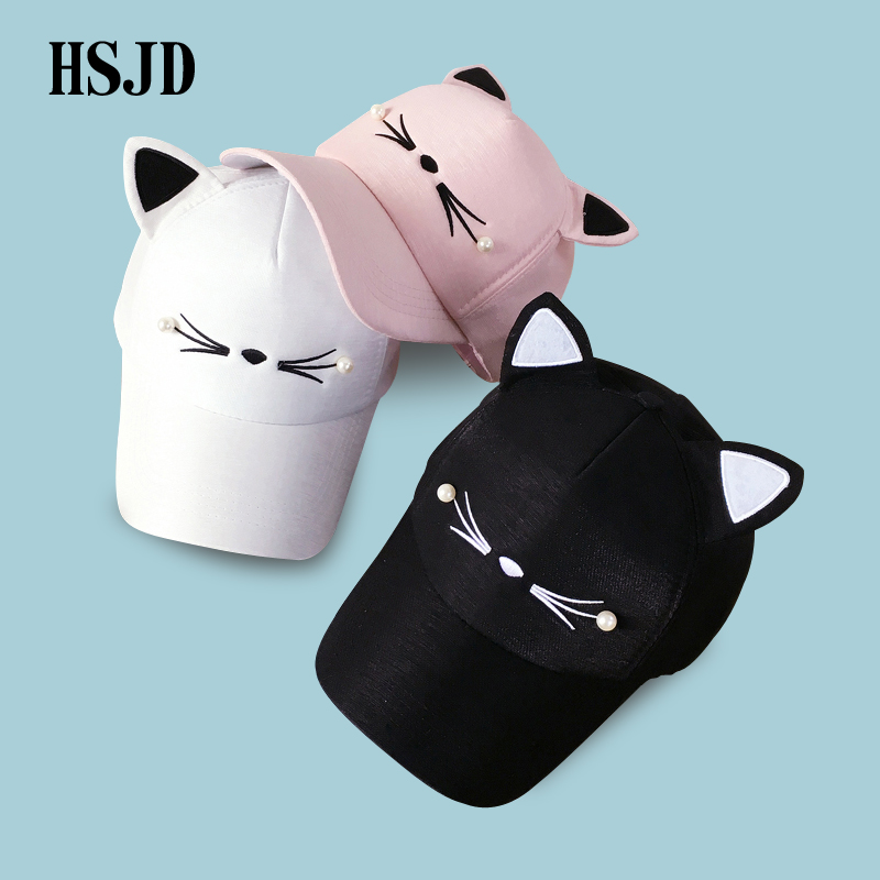 Snapback Cute Cat Ears Pink Adult Net   Baseball     Cap   Summer Women's hats 2018 Brand Lovely Cartoon Adjustable Girl Mesh   Cap   Gift