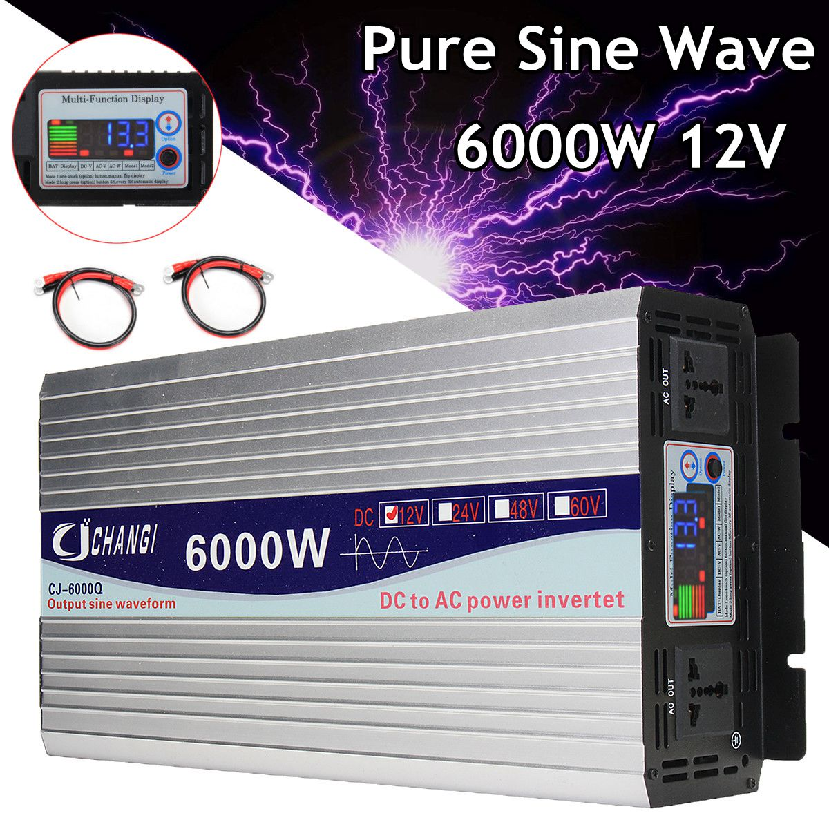 Intelligent Screen Pure Sine Wave Power Inverter 12V/24V To 220V 3000W/4000W/5000W/6000W Converter Adapter LCD Screen