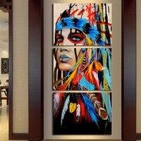 אמנות בד 3 piece מודפס HD האינדיאנים נוצות משלוח ירידה סיטונאי ציור סלון בד ציור קיר תמונות