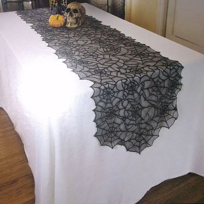 1pc Halloween Spider Web 18X72inch Table Runner Black Lace Tablecloth  Halloween Table Decoration Event Party Supplies H In Table Runners From  Home U0026 Garden ...