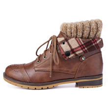New Fashion Womens Knit Sweater Lace Up Winter Martin Winter Snow Ankle Boots Students Warm Shoes