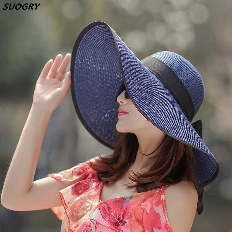 SUOGRY Summer Solid Sun Hats For Women Big Wide Brim Panama Beach Hat Female Bucket Caps Women's Bow tie Chapeu Feminino