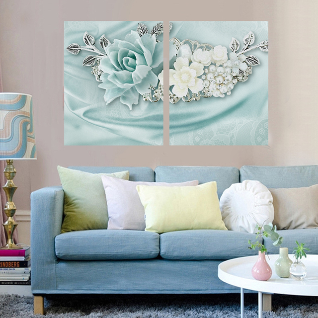 2 Panel Home Decor Pictures 3D Flower Wall Art Posters And Prints Wall  Picture For Living