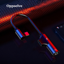 Oppselve Usb C to 3.5mm Aux Jack Audio Cable For Xiaomi 9 Huawei P30 P20 Oneplus splitter Adapter Type-C Charging