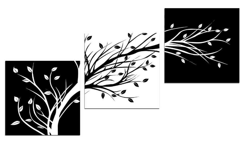 3 panels black and white leaves modern canvas wall art for for Modern black and white wall art