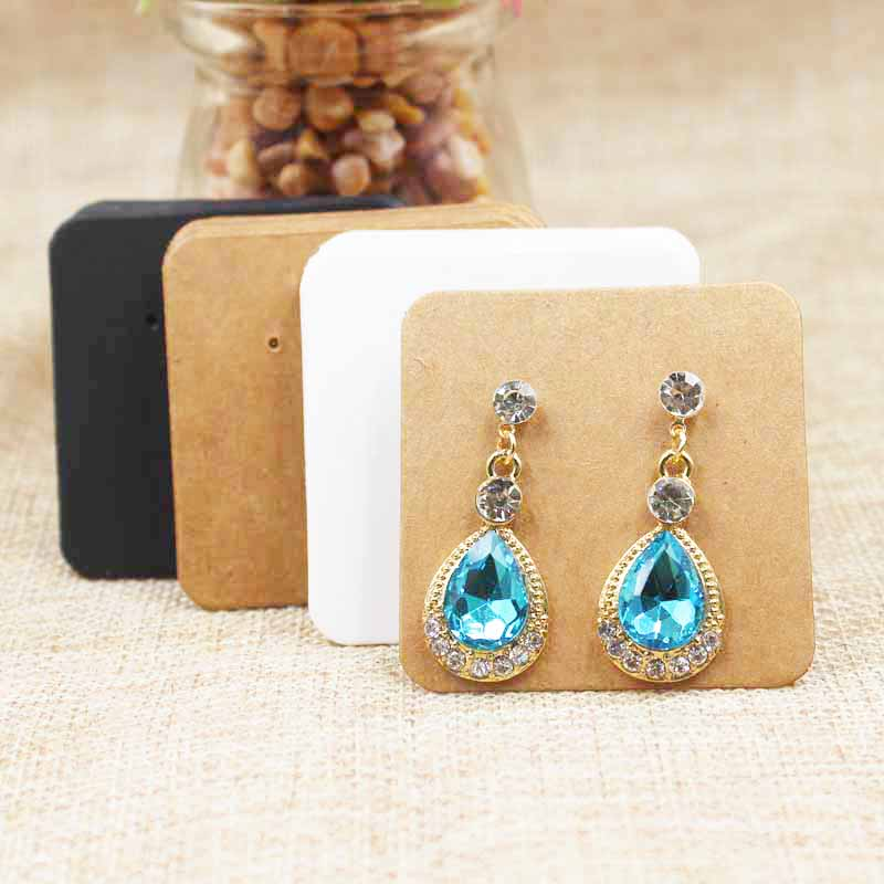 200pcs Handmade Small Cute  Jewelry Packing &display Earring Card Drop/stud Earring Packing Card White/kraft/black Color 5*5cm