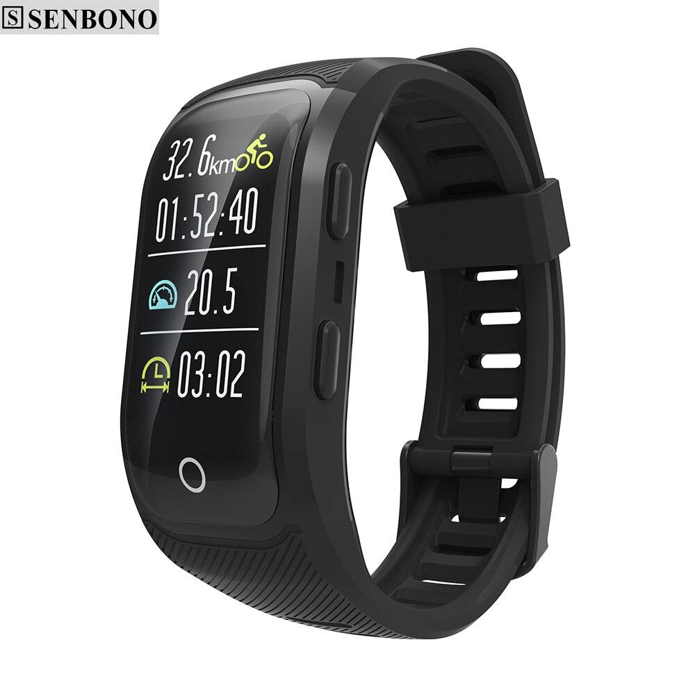SENBONO S908S kolorowy ekran IP68 wodoodporna Bluetooth GPS nadgarstek Monitor pracy serca Monitor aktywności fizycznej sport bransoletka w Inteligentne opaski od Elektronika użytkowa na  Grupa 1