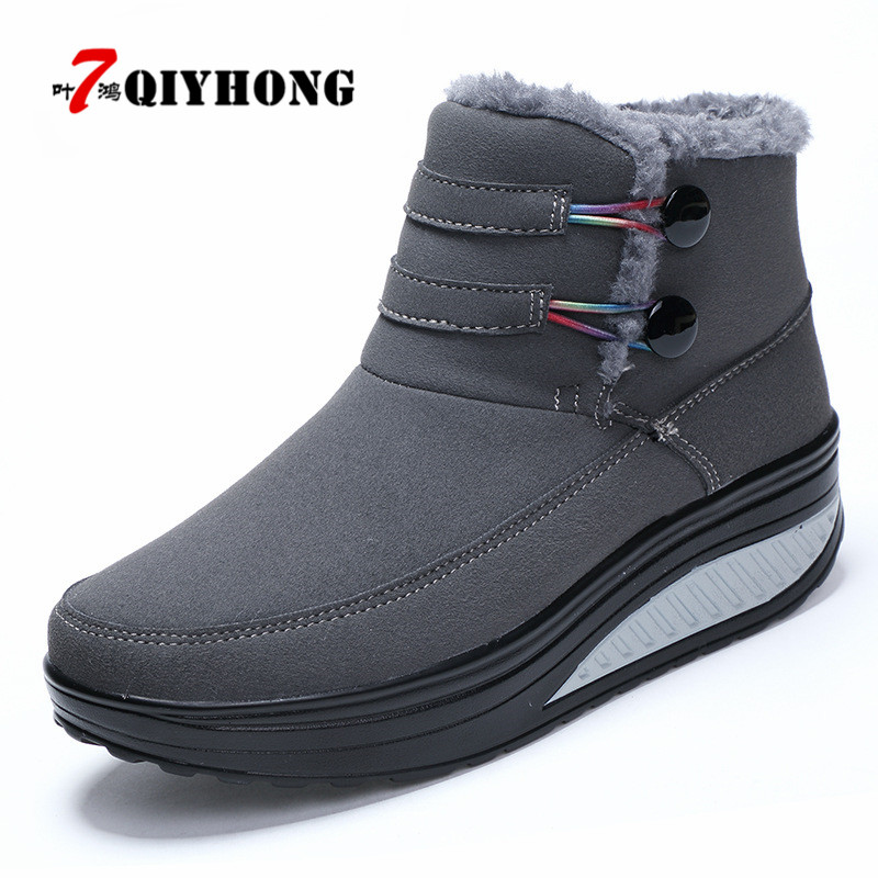 QIYHONG2018 New Winter Shoes Woman Platform Boots Keep Warm Snow Boots Spli-On Cotton Ankle Boots Women Plus Plush Women'S Shoes fedonas top quality winter ankle boots women platform high heels genuine leather shoes woman warm plush snow motorcycle boots