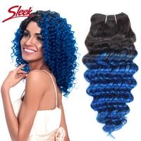 1 Piece Only Sleek Ombre Brazilian Nature Deep Wave Bundles Human Hair Weave Deal #T1B Blue Pink Purple Remy Hair