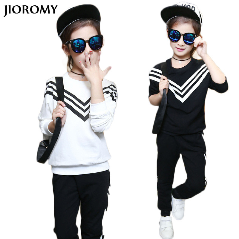 JIOROMYBig Girls Children Clothing Sets for Girls Sport Clothes Navy Style Girls Sports Suits Teenage Kids Tracksuits Sportswear 2017 kids clothing sets for girls striped print sports suits girls tracksuits cotton casual sportswear children outfits 13 14 t