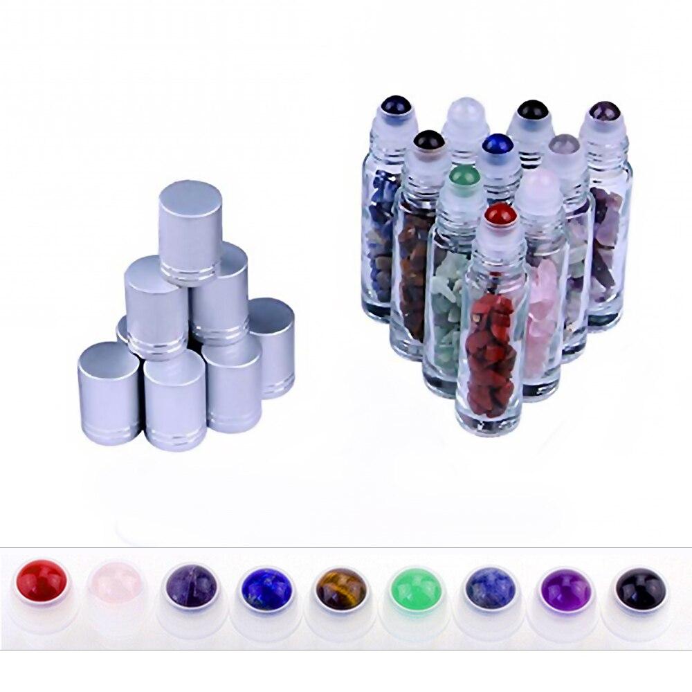 10 Uds Natural piedra semi preciosa aceite esencial de bola de rodillo transparente botellas de vidrio de Perfume de cristal de curación Chips 10ml