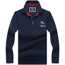 ba2b04192b Alta Qualidade Tops   T Dos Homens do Polo de cor Sólida 3D Bordados  Negócios Polo Ocasional Camisas dos homens de inverno manga.