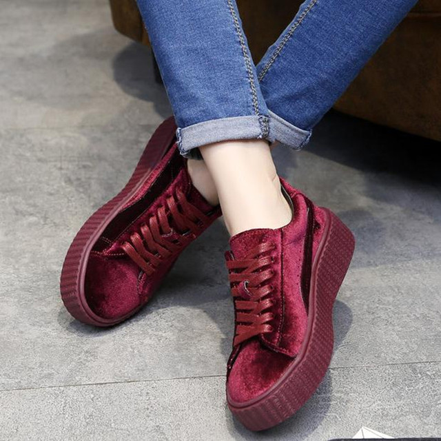 Fashion Wine red, black velvet thick bottom lace-up Platform shoes Flat with casual shoes Women Shoes zapatos mujer huarche