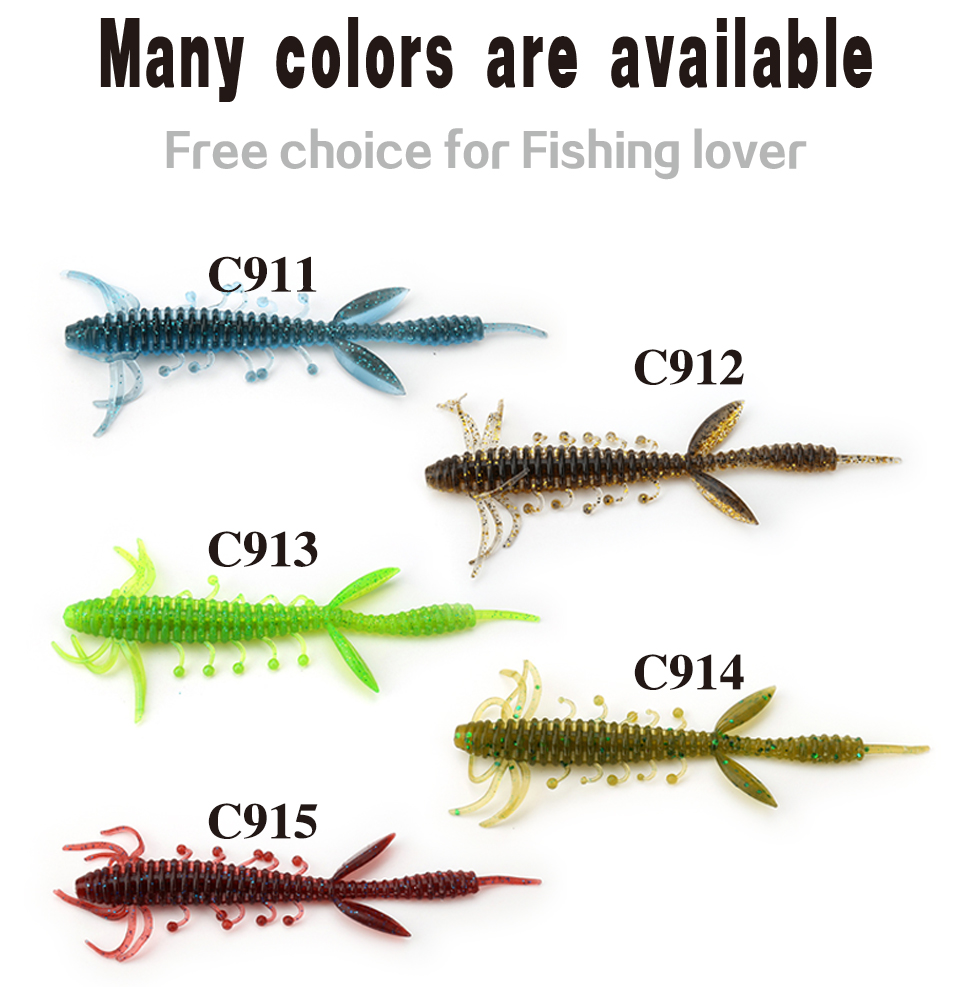 Kingdom Fishing lures 7.5cm 1.4g 10cm 3.25g 6pcs/bag high quality Artificial Bait silicone soft lure 5 color model 3810 8
