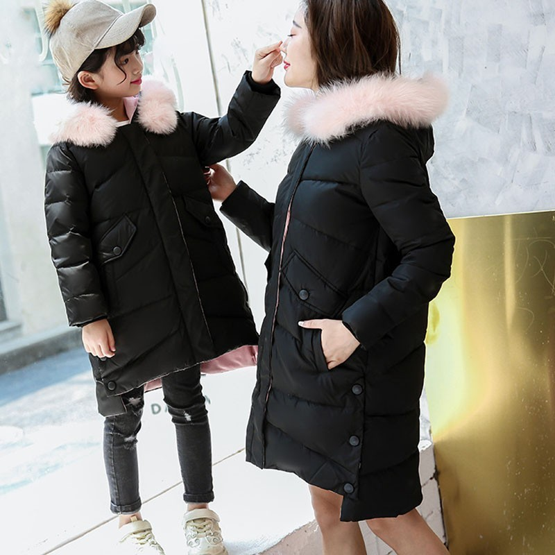купить Christmas Outerwear Girl Winter Warm Kids Fur Hooded Teenage Girl Winter Coats Kids Down Pink Green Mother And Daughter Clothes