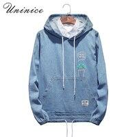 Men S Winter Autumn Plus Size 5XL Hoodies Printed Denim Sweatshirt Men Jeans Hooded Coats Teenager