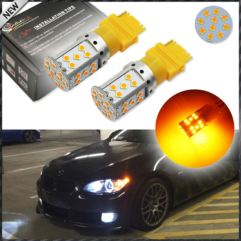 iJDM No Resistor, No Hyper Flash High Power Amber 3156 3056 3357 3057 3457 LED Bulbs For Car Front or Rear Turn Signal Lights ijdm no hyper flash 21w high power amber bau15s 7507 py21w 1156py led bulbs for car front or rear turn signal lights canbus 12v