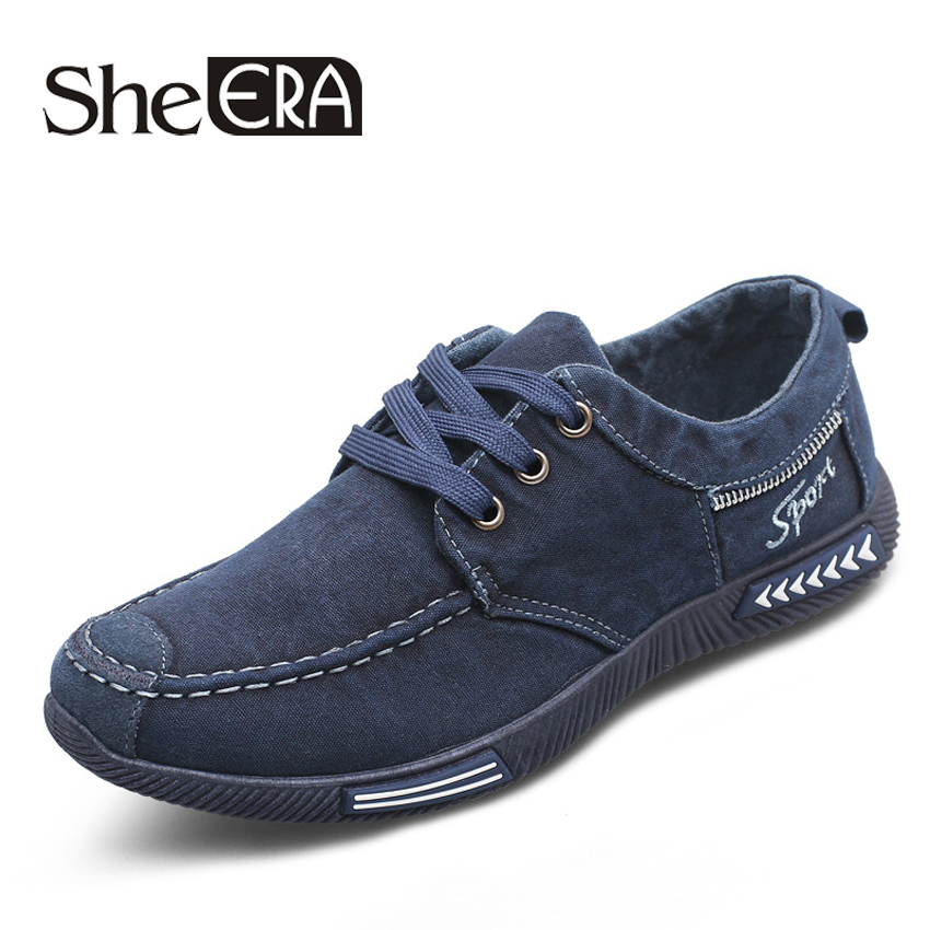 Canvas Men Shoes Denim Lace-Up Men Casual Shoes New 2017 Plimsolls Breathable Male Footwear Spring Autumn RME-252