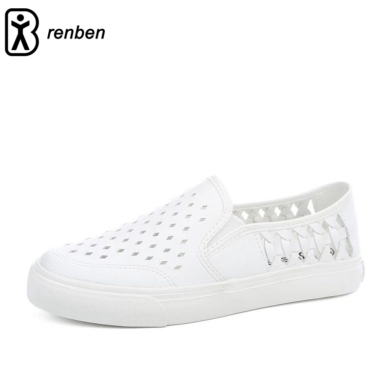 Renben Fashion Hollow Breathable Flat Shoes Slip-on Rubber Sole Comfortable Casual Walking Non-slip Loafers Women Female first dance fashion candy printed women shoes breathable female casual slip on shoes woman loafers outdoor walking 3d chaussure