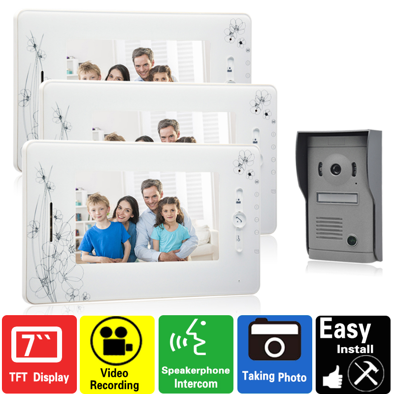 7 video door phone intercom system video doorphone doorbell video recording photo taking free shipping