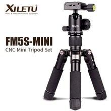 XILETU FM5S MINI קל Alluminum חצובה שולחן מיני נסיעות Stand חצובה עם 360 תואר כדור ראש עבור מצלמה דיגיטלית