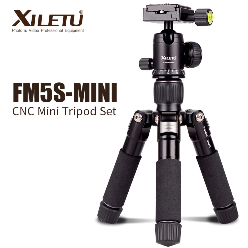 XILETU FM5S-MINI Lett Alluminum Tripod Tabletop Mini Travel Stand Stativ med 360 graders kulehode for digitalt kamera